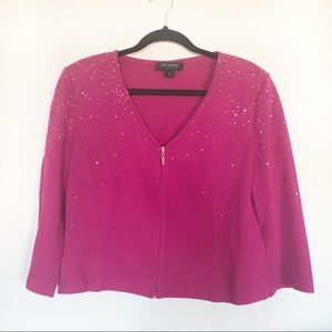 St. John Pink Sequin Cardigan Size 8